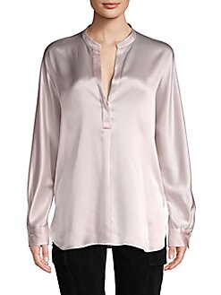 e9269f15308872 Product image. QUICK VIEW. Vince. Band Collar Silk Blouse