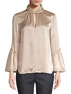 f2f45d892c2674 QUICK VIEW. Elie Tahari. Laraib Twist Neckline Silk Blouse
