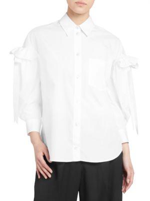 Simone Rocha T-shirts Ruffled Poplin Bow-Sleeve Shirt