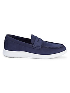 30ab067b65 Cole Haan. Grand Suede Penny Loafers