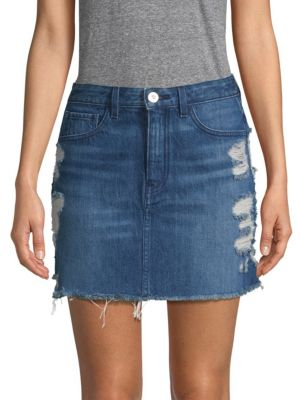 3x1 Skirts Celine Destroyed Denim Mini Skirt