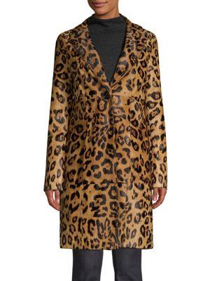 Elie Tahari Coats Angelina Leopard Print Calf Hair Coat