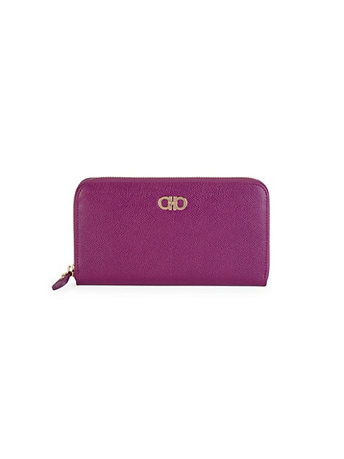 SALVATORE FERRAGAMO | Textured Leather Zip-Around Wallet | Goxip
