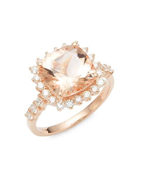Saks Fifth Avenue 14K Rose Gold, Morganite, Diamond Ring