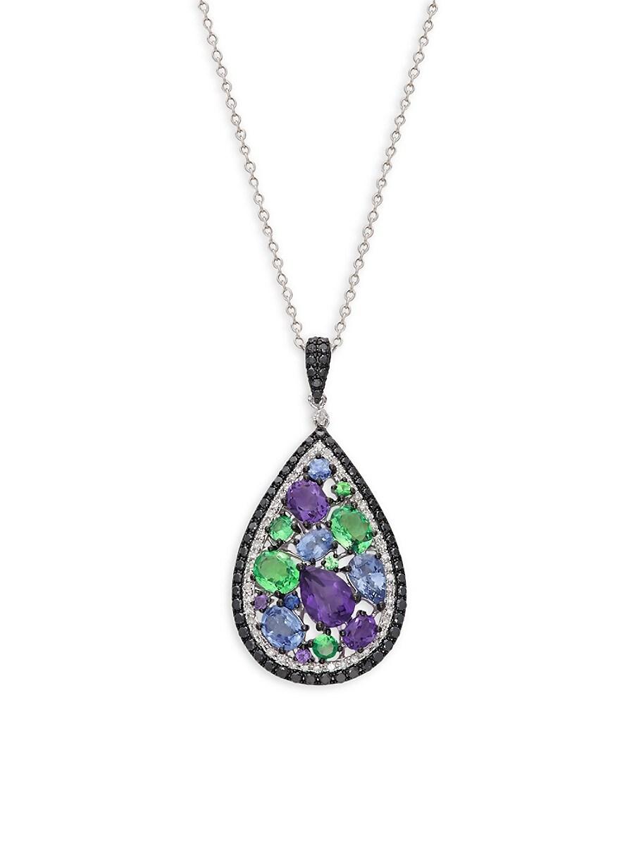 Women's 14K White Gold & Multi-Stone Teardrop Pendant Necklace