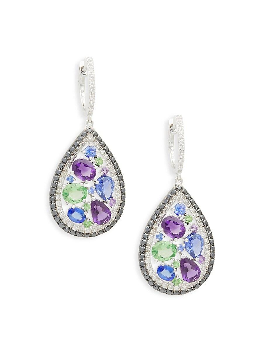 Women's 14K White Gold & Multi-Stone Earrings