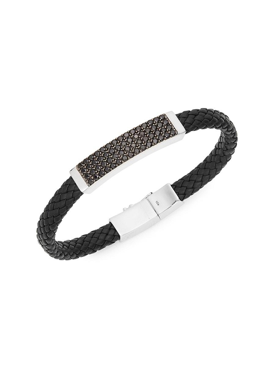 Men's Sterling Silver Spinel Plaque Leather Bracelet