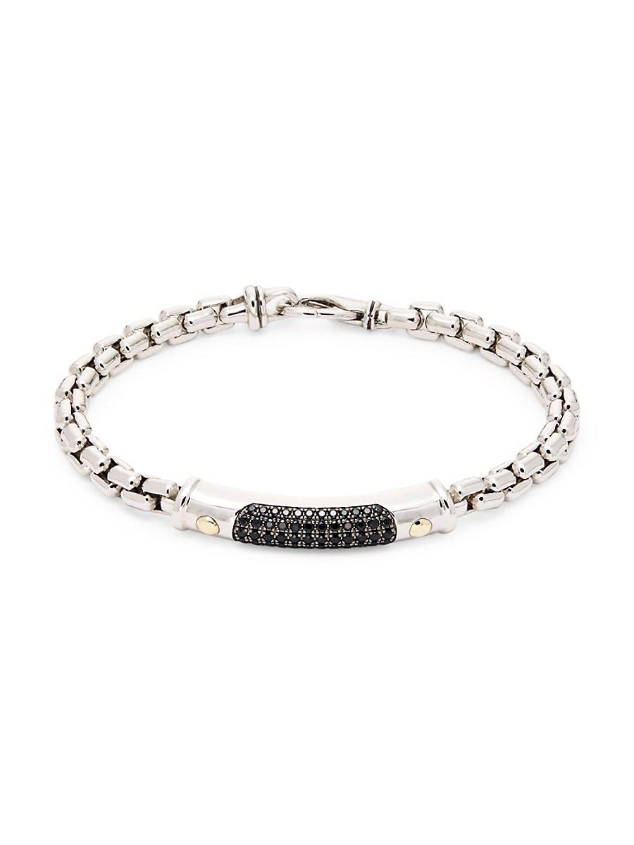 Men's Sterling Silver & Black Spinel Link Bracelet