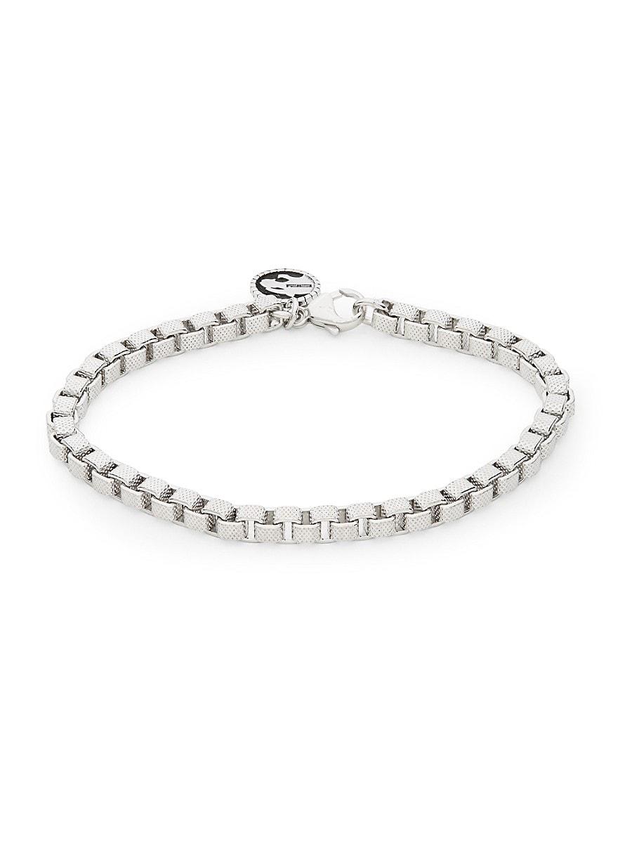 Men's Sterling Silver Dot-Pattern Venetian Chain Bracelet