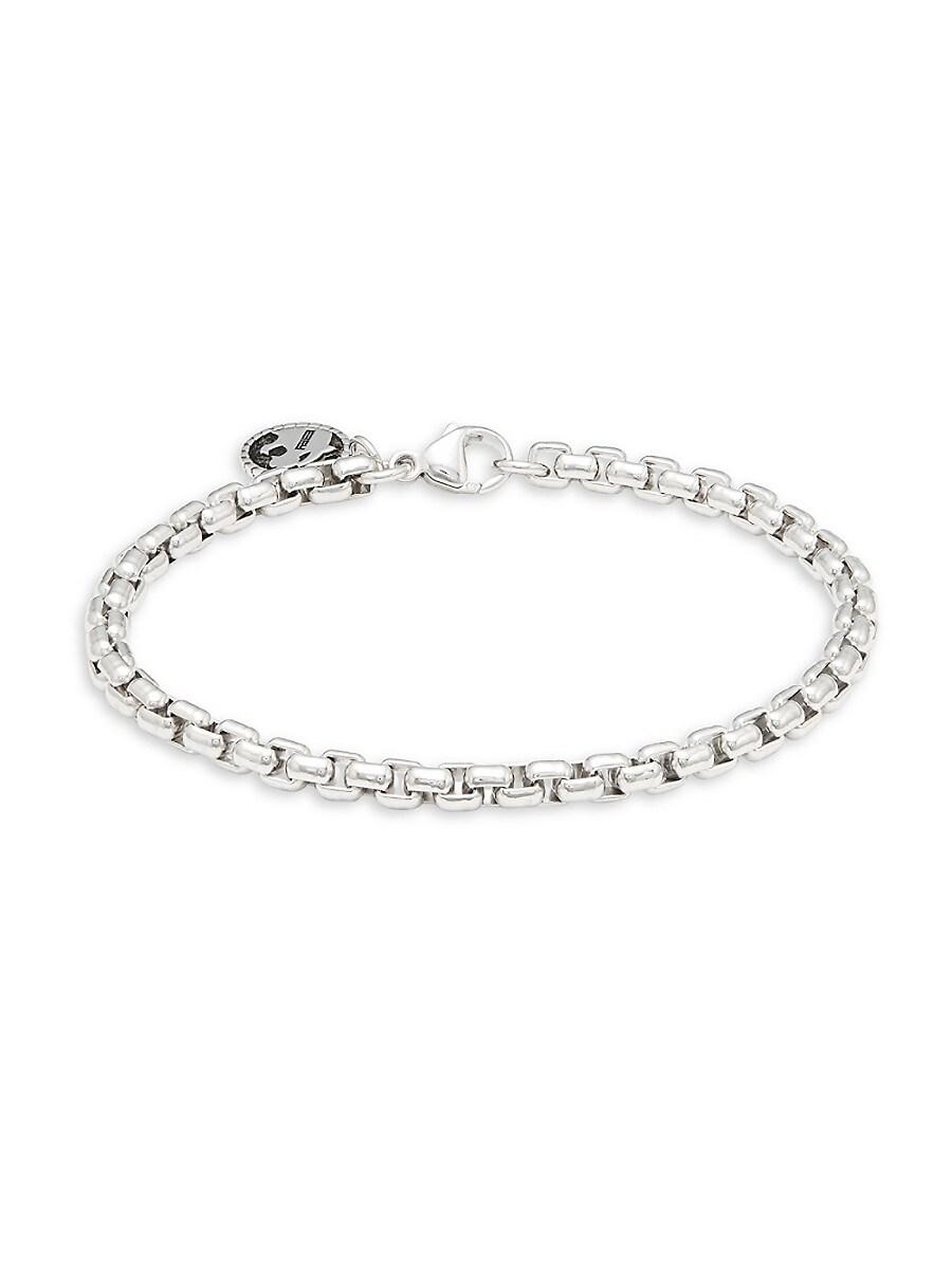Men's Sterling Silver Round Box Chain Bracelet