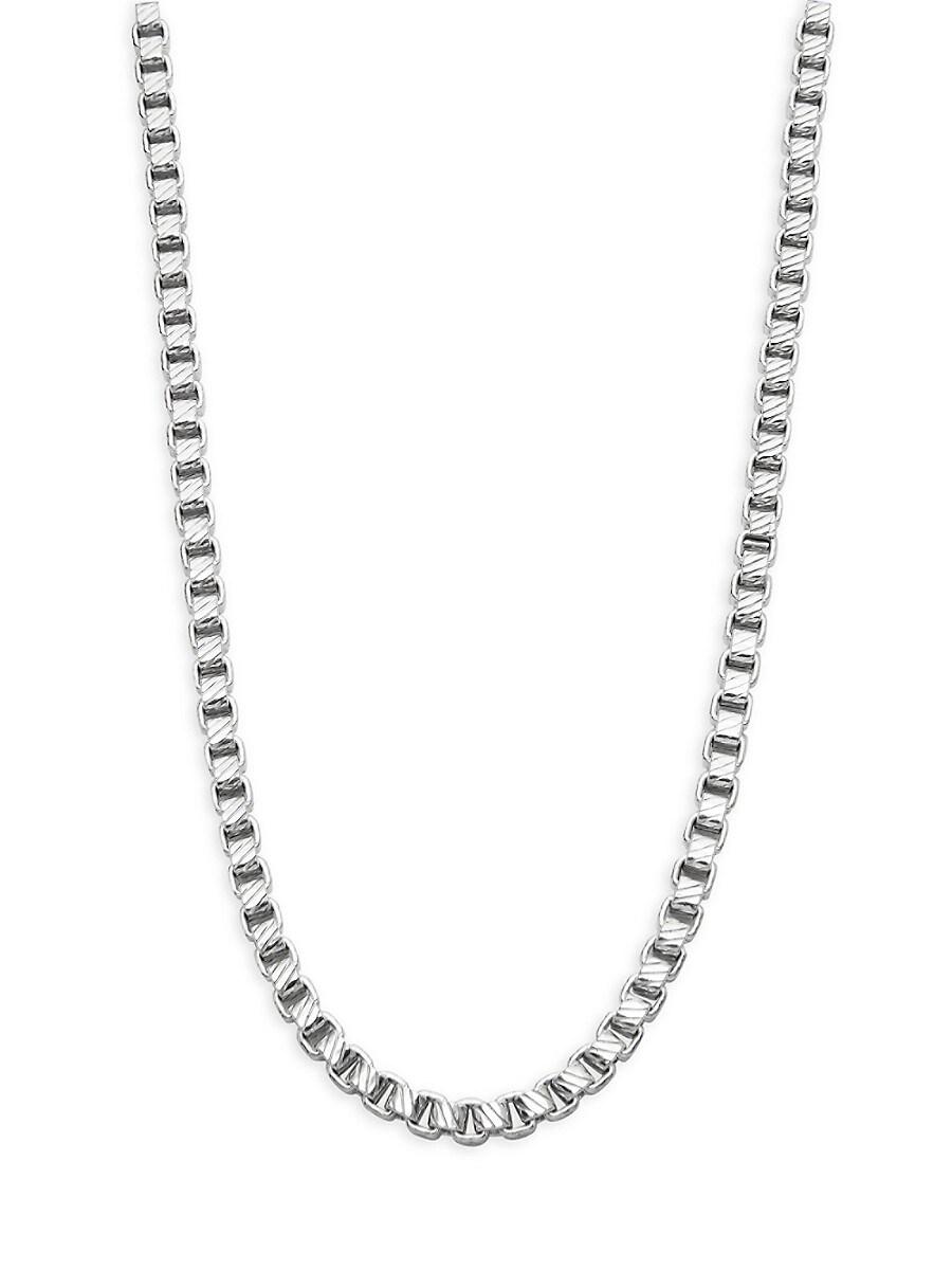 Men's Sterling Silver Diagonal-Pattern Box Chain Necklace
