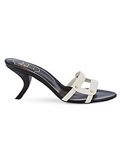ecf777d0e197a QUICK VIEW. Roger Vivier. Ciabattina Leather Heeled Sandals