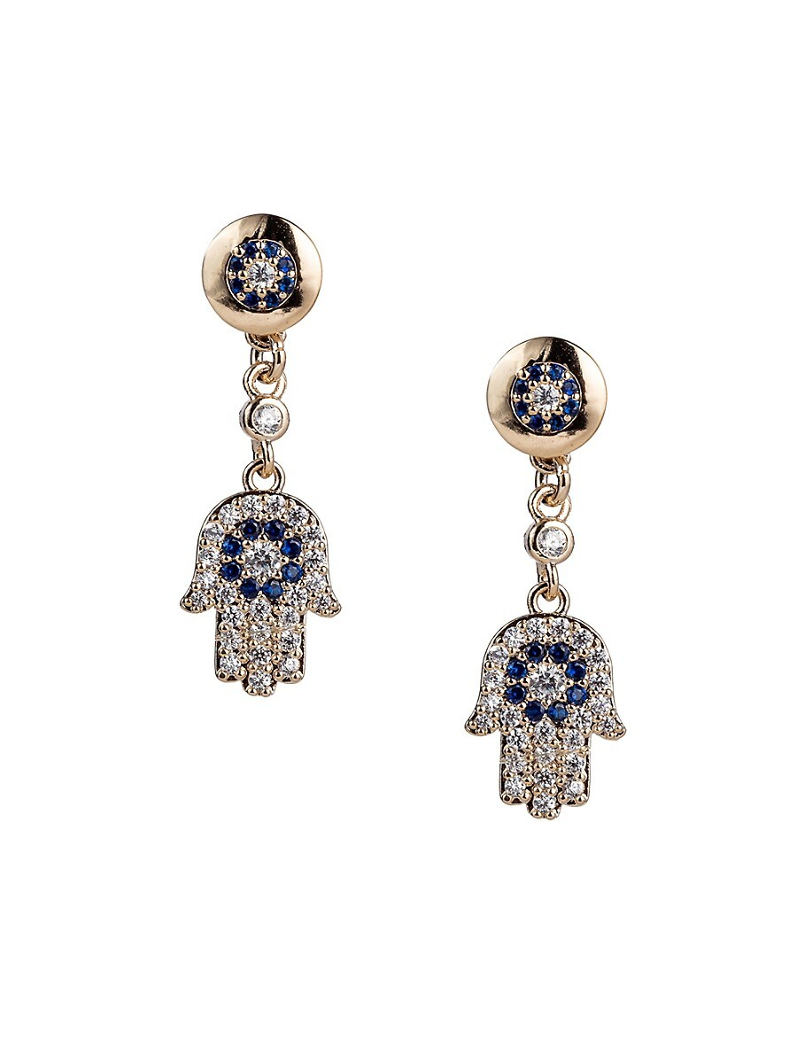 Women's Luxe Hamsa Crystal Dangle Earrings
