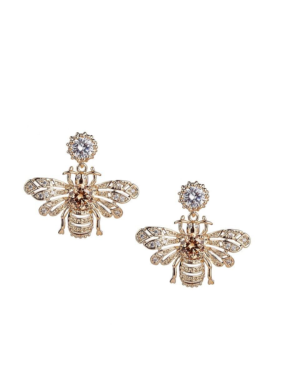 Women's Luxe Crystal Bee Dangle Drop Earrings