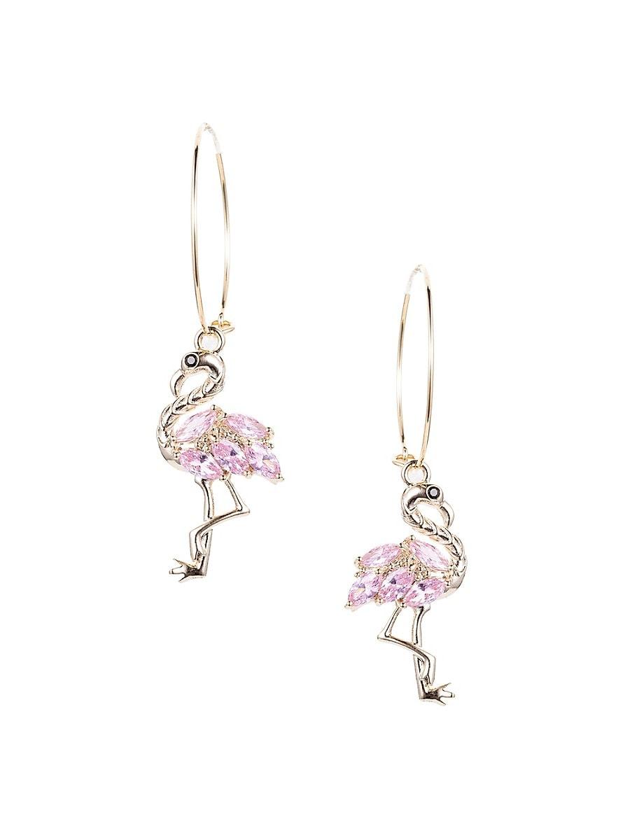 Women's Luxe Goldtone & Pink Crystal Flamingo Dangle Earrings