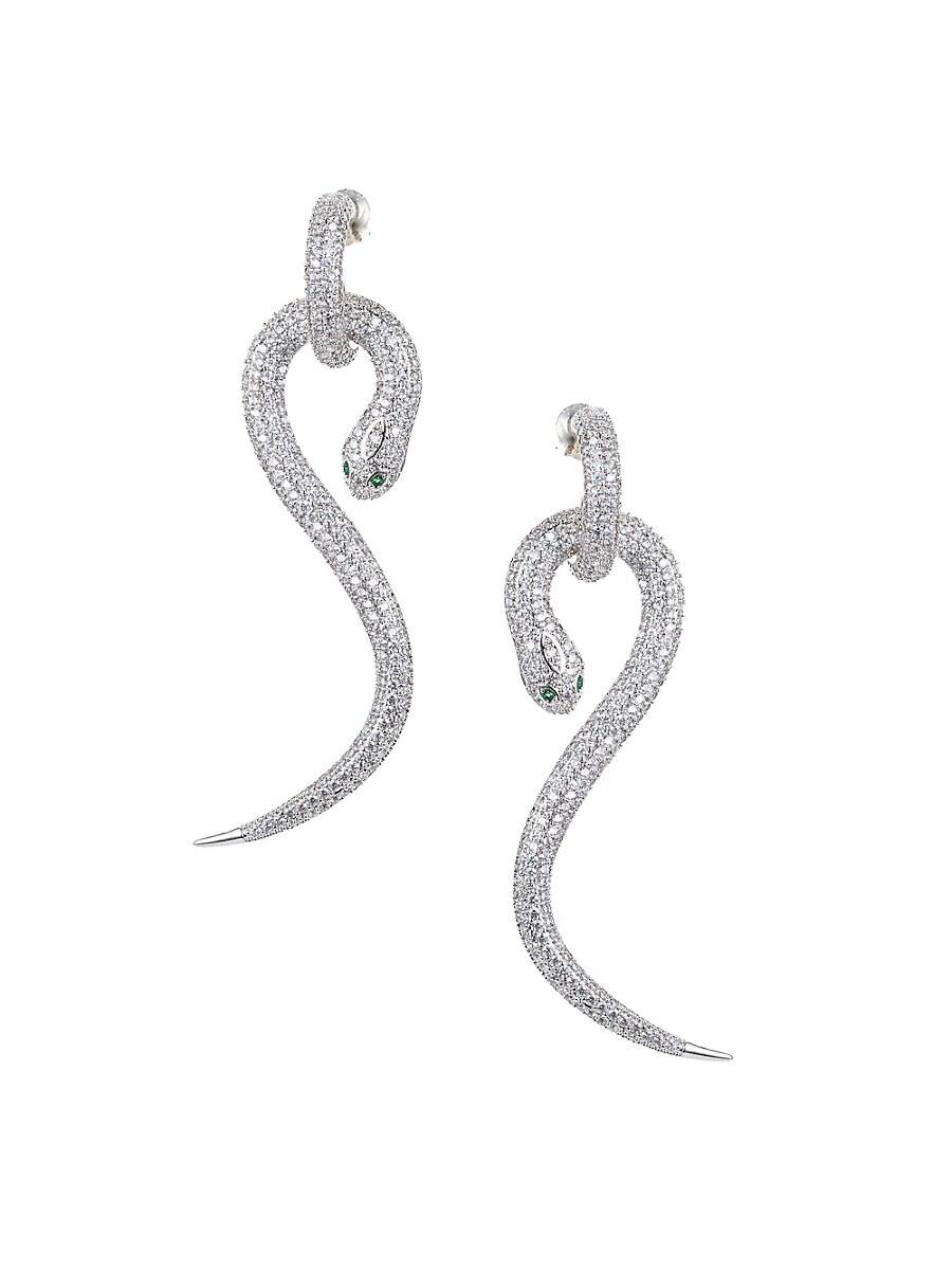 Women's Luxe Crystal Snake Drop Earrings