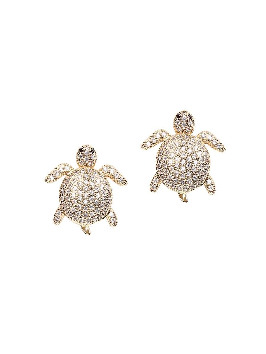 Women's Luxe Crystal Tortoise Stud Earrings