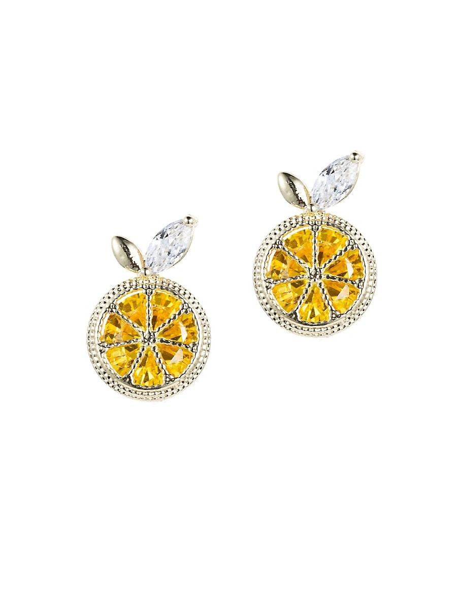 Women's Luxe Goldtone & Crystal Lemon Zest Stud Earrings