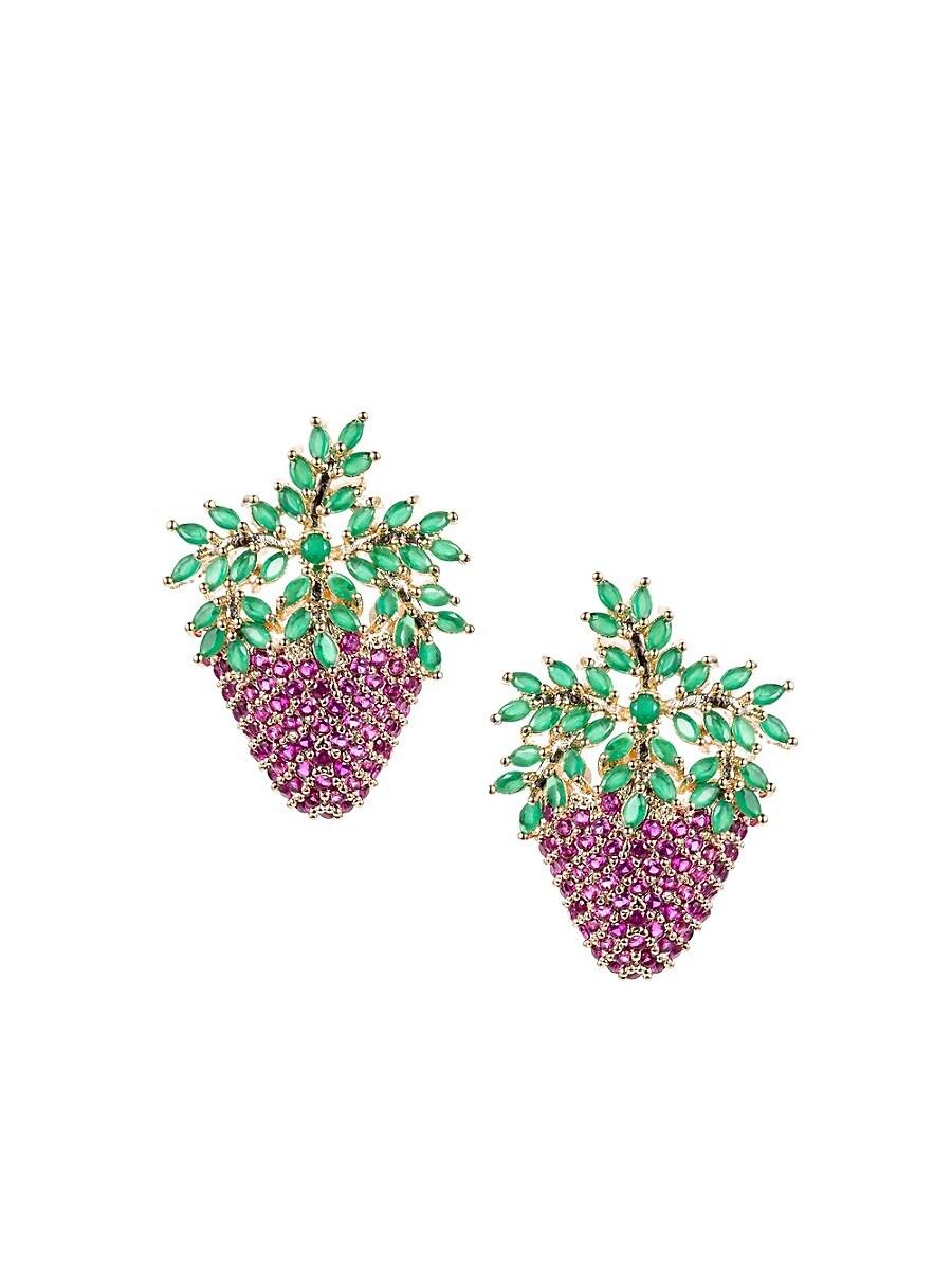 Women's Luxe Crystal Strawberry Stud Earrings