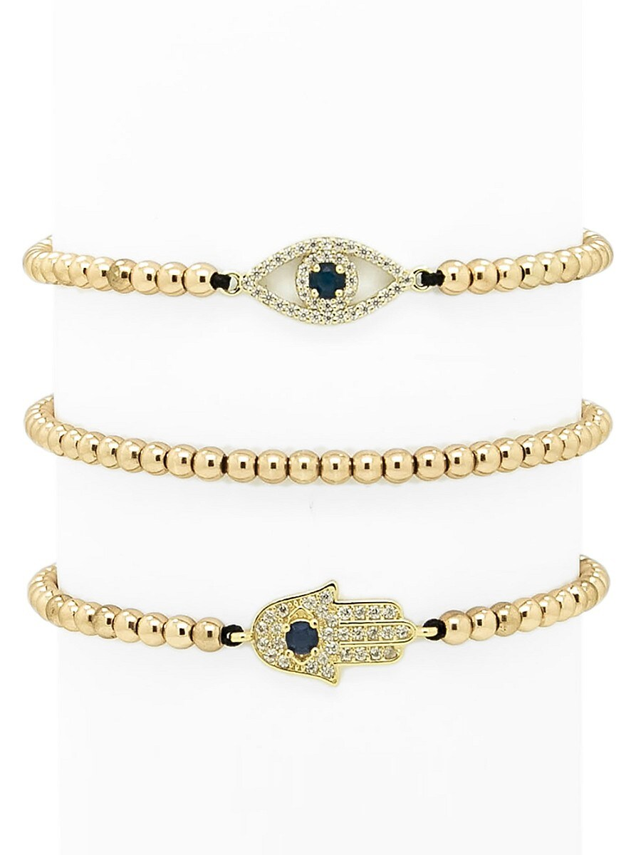Women's Luxe 3-Piece Crystal Hamsa & Evil-Eye Beaded Bracelet Set