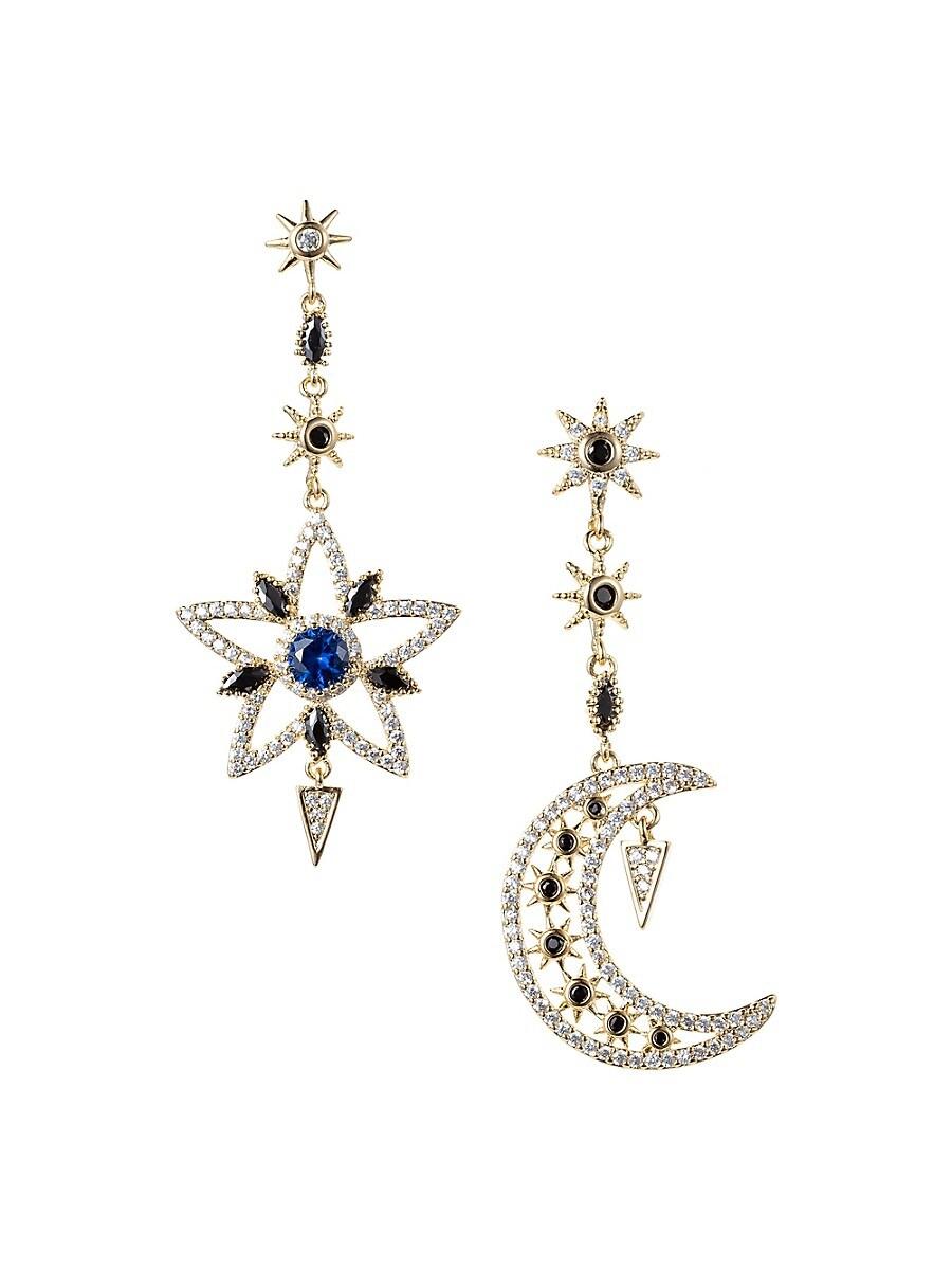 Women's Luxe Crystal Star & Moon Drop Earrings