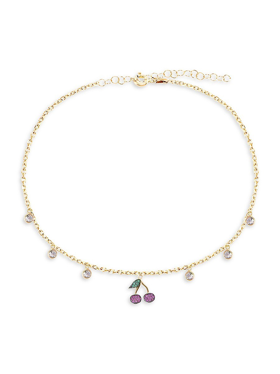 Women's Private Garden 22K Gold Vermeil & Glass Crystal Cherry Anklet