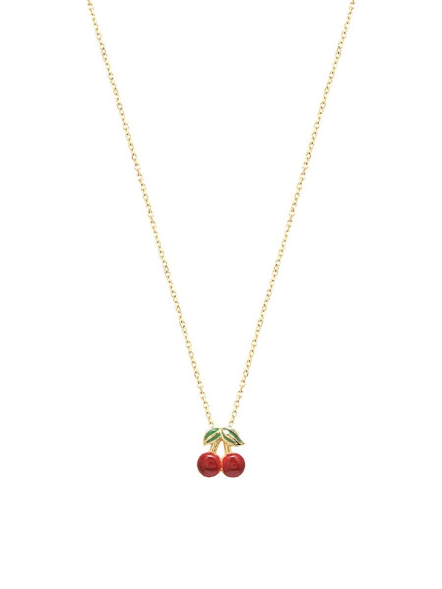 Women's Private Garden 22K Gold Vermeil & Enamel Cherry Pendant Necklace
