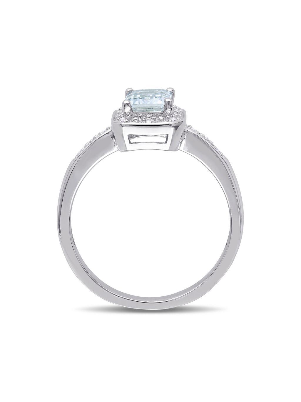 Sonatina Sterling Silver, Aquamarine & Diamond Solitaire Ring