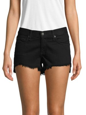 Rag & Bone Frayed Denim Shorts In Black