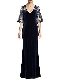 99a3167ea46 QUICK VIEW. Aidan Mattox. Velvet Floral Embellished Dress