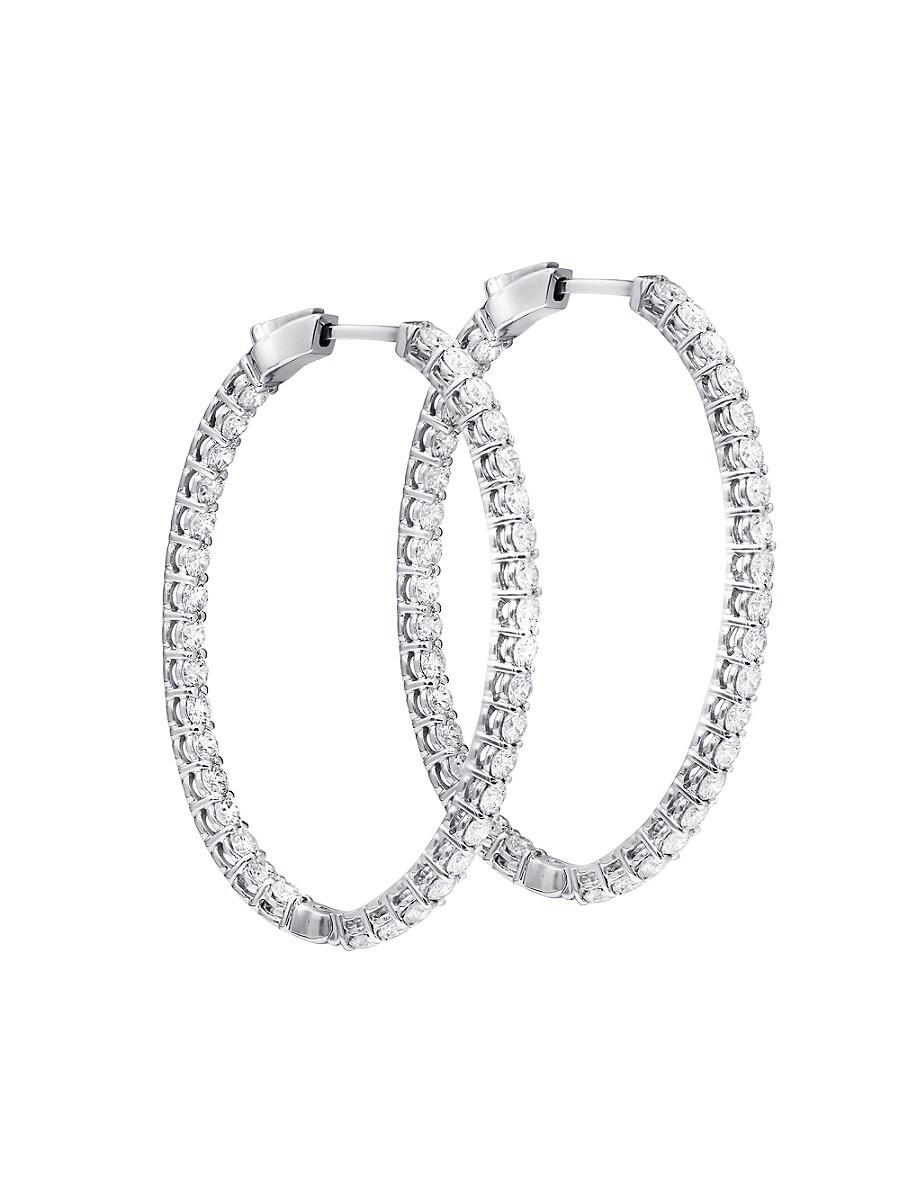 Women's 18K White Gold & 1.40 TCW Diamond Hoop Earrings
