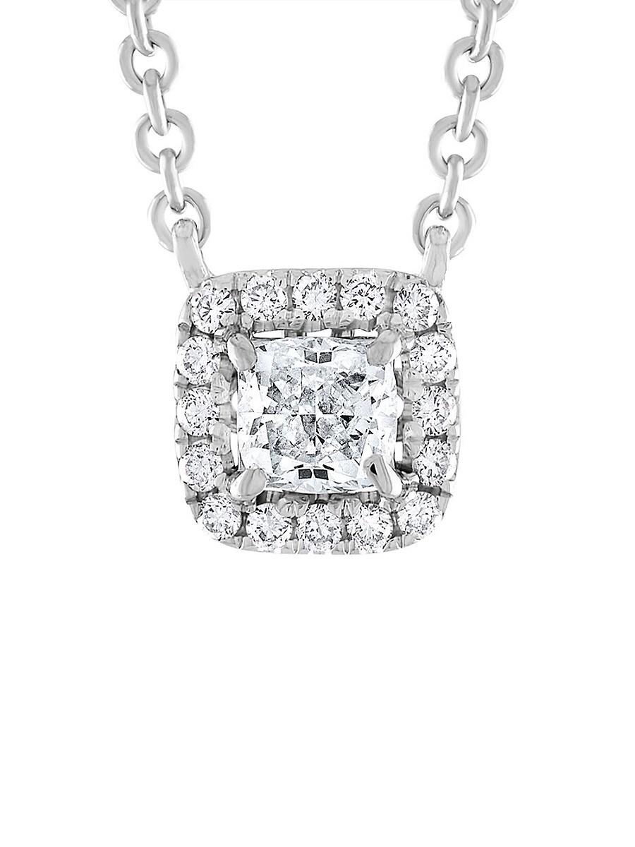 Women's 14K White Gold & 1 TCW Diamond Halo Necklace