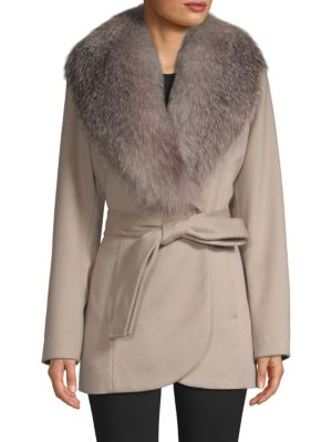 Sofia Cashmere Coats Fox Fur-Trim Wool & Cashmere Coat