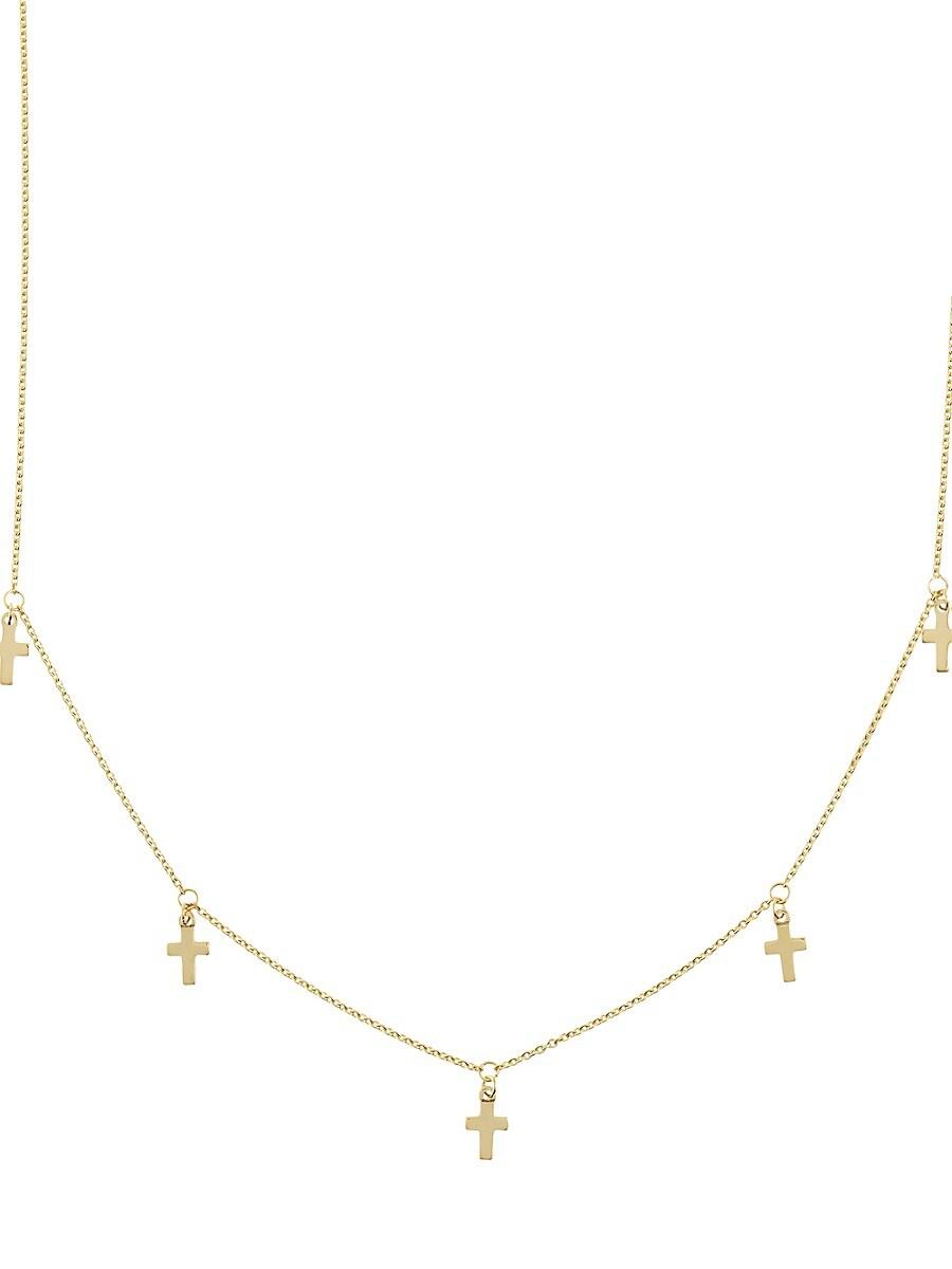 Women's 14K Yellow Gold Dangle Cross Choker Necklace