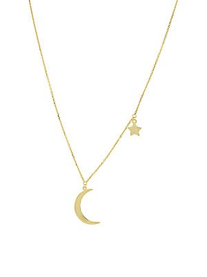 14 K Yellow Gold Crescent Moon & Star Pendant Necklace by Saks Fifth Avenue