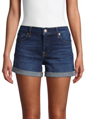 7 For All Mankind Shorts Rolled Cuffs Denim Shorts