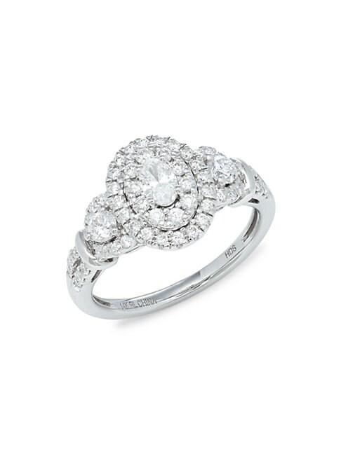 Saks Fifth Avenue 14k White Gold & Diamond Oval Ring