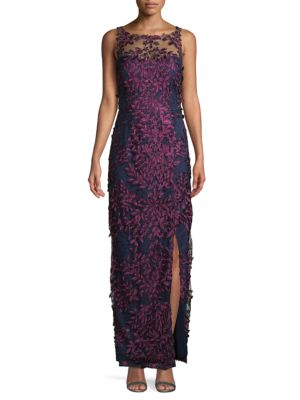 Js Collections Embroidered Floral Mesh Gown In Navy