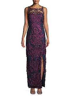 5d213479722 QUICK VIEW. JS Collections. Embroidered Floral Mesh Gown