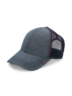 Penguin Chambray Trucker Hat In Dark Sapphire