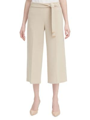 Calvin Klein Collection Classic Tie Culottes In Latte