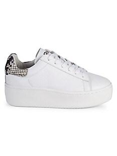 아쉬 스니커즈 ASH AS-Cult Platform Leather & Snake-Print Sneakers,WHITE