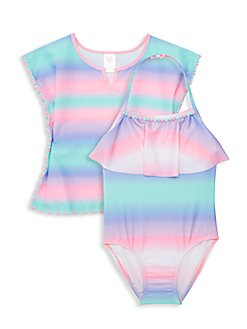 6ac4eb2137 Little Girl's 2-Piece Striped Swim Set BLUE PINK. QUICK VIEW. Product image