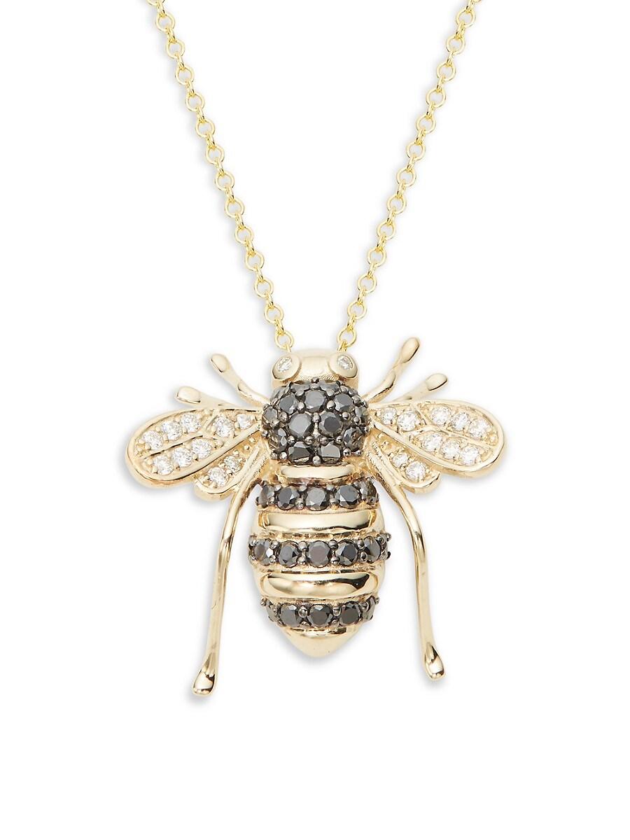 Women's 14K Yellow Gold & Multicolored Diamond Bee Pendant Necklace