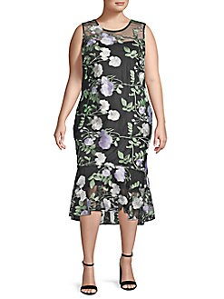 9ede7ccd2514 QUICK VIEW. Calvin Klein. Plus Floral Embroidered Illusion Midi Dress