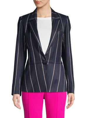 Oscar De La Renta Jackets Striped Wool Blend Jacket