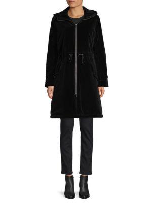 Jane Post Coats Hooded Velvet Rain Coat
