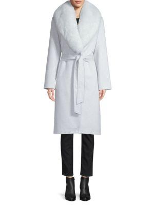 Sofia Cashmere Coats Fox Fur-Trim Wool & Cashmere Wrap Coat