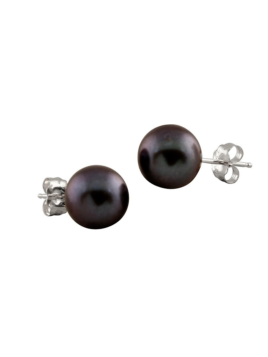 Women's 14K White Gold & 10-11MM Black Pearl Stud Earrings