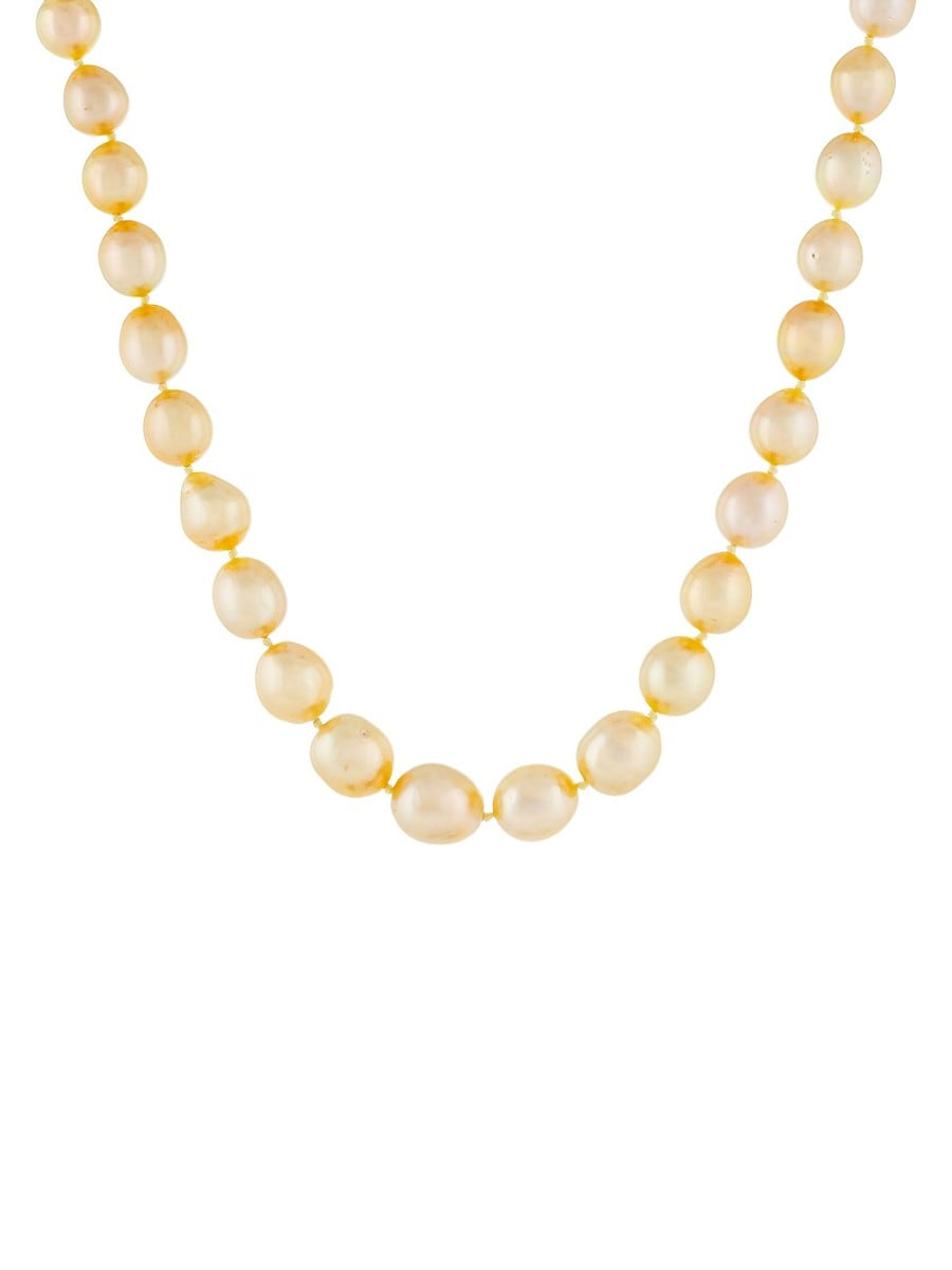 Women's 14K Yellow Gold & 9-11MM Golden Off-Round Pearl Strand Necklace